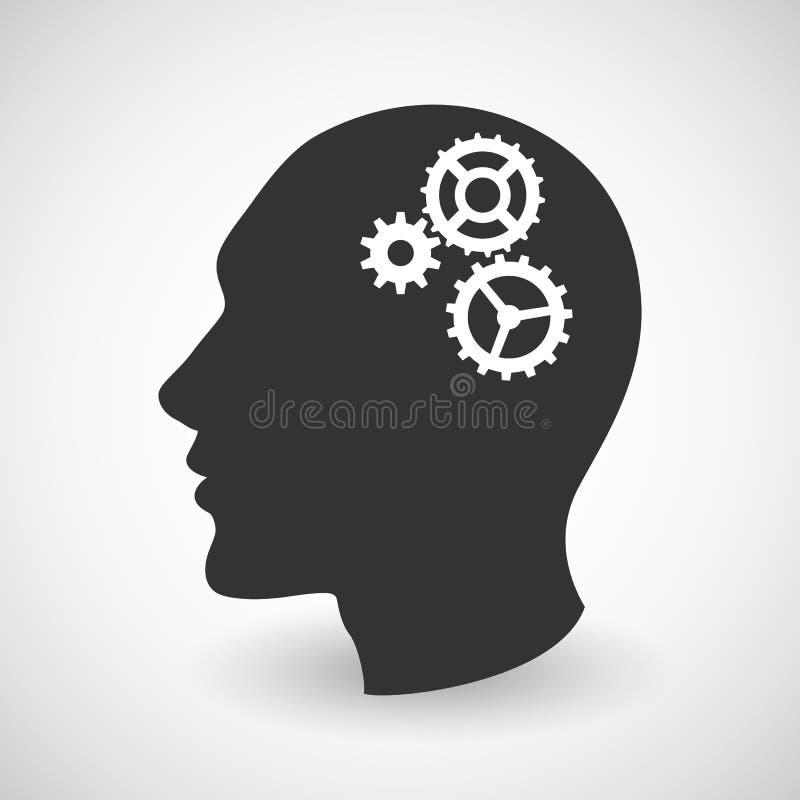 Menselijk hoofdsilhouet met reeks toestellen stock illustratie