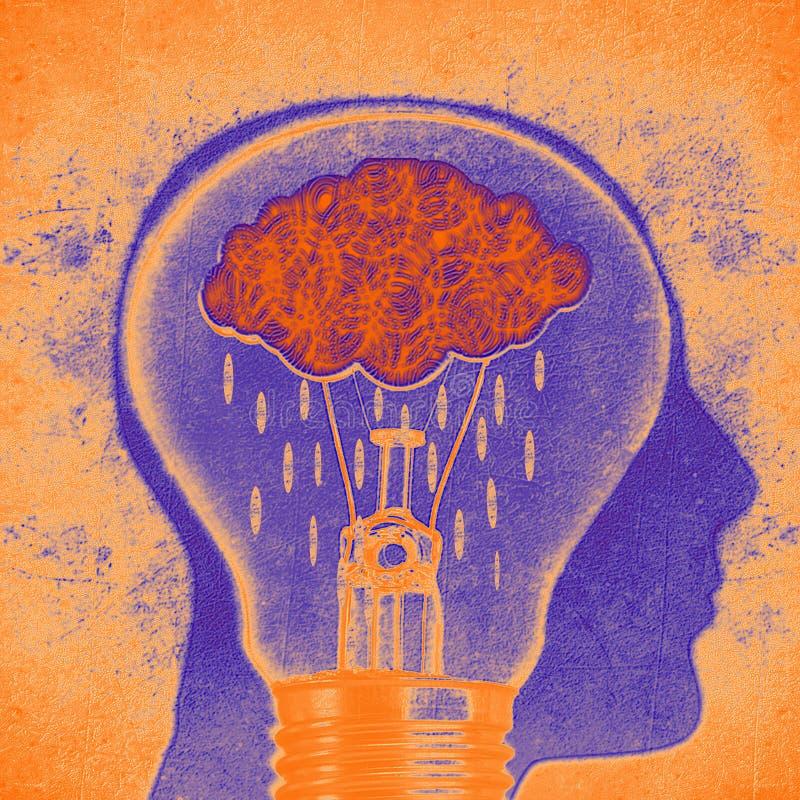 Menselijk hoofdsilhouet met wolkenregen en lightbulb digitale illustratie royalty-vrije illustratie
