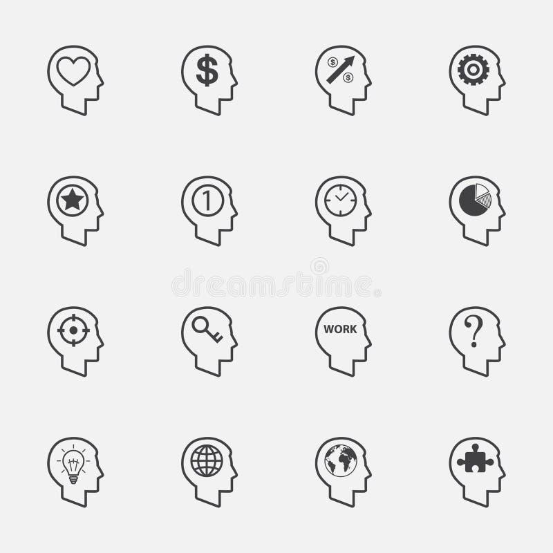 Menselijk hoofdteken en symbool Geplaatste pictogrammen Vector stock illustratie