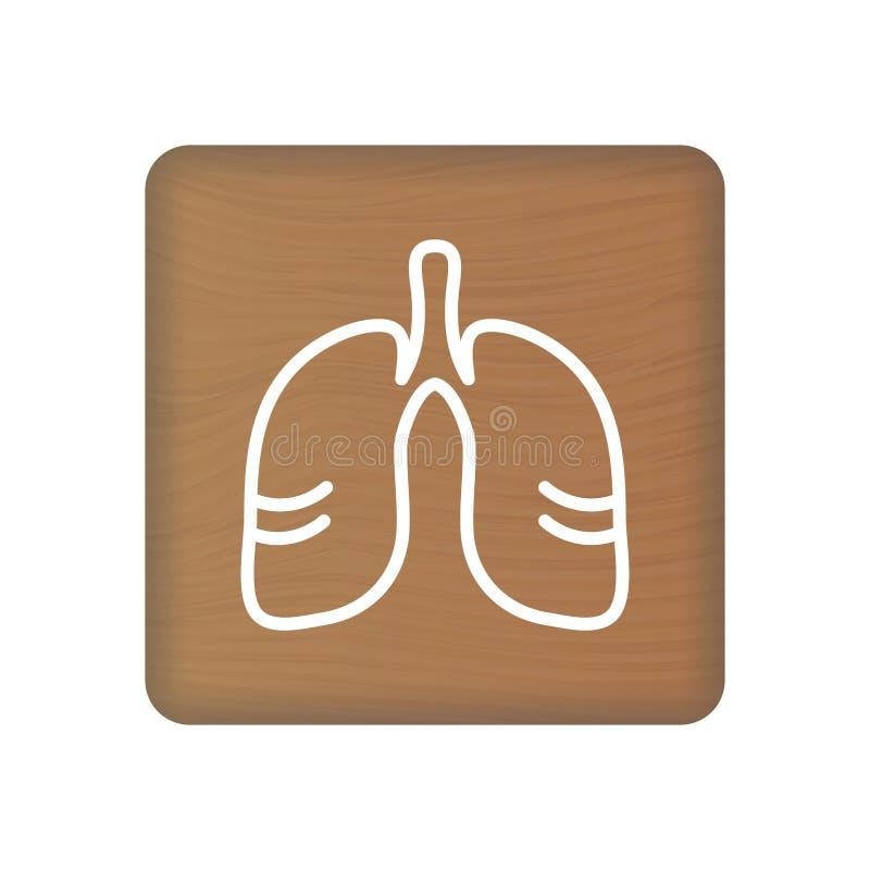 Menselijk Longenpictogram Een Interne Orgaanvector Menselijke anatomieillustratie Tekensymbool voor Medische Presentatie op Houte vector illustratie