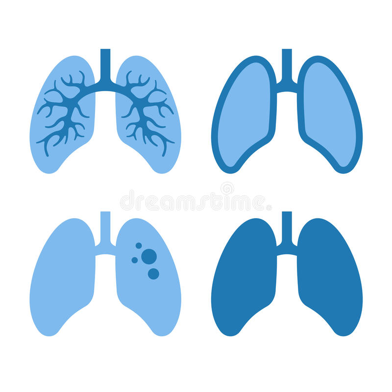 Menselijk Lung Icons Set vector illustratie