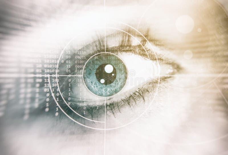 Menselijk oog Het concept van de veiligheid stock foto