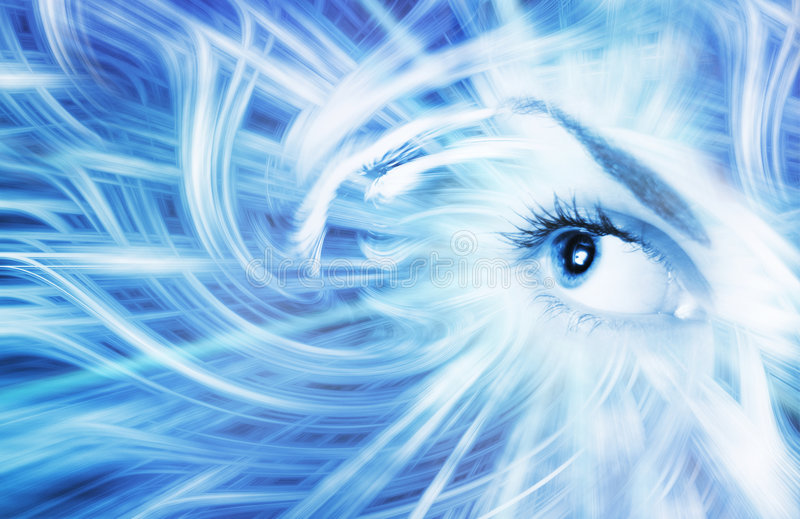 Menselijk oog op blauwe backround royalty-vrije stock afbeeldingen