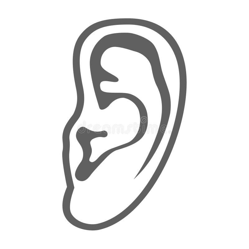 Menselijk oor grafisch teken stock illustratie