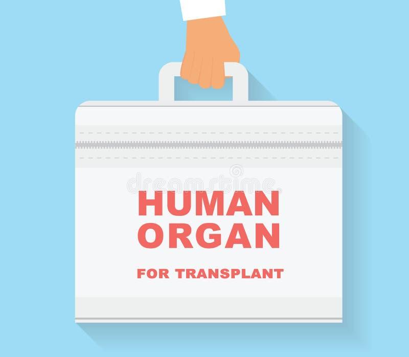 Menselijk orgaan voor transplantatiezak Overplantings conceptuele illustratie royalty-vrije stock afbeeldingen