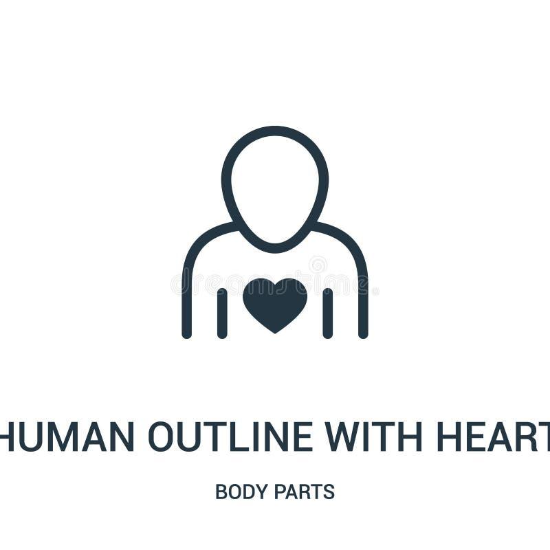 menselijk overzicht met de vector van het hartpictogram van lichaamsdeleninzameling Dun lijn menselijk overzicht met het pictogra vector illustratie