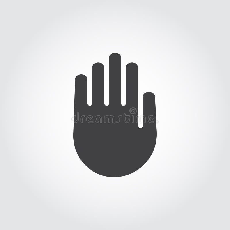 Menselijk palm zwart vlak pictogram Symbool van eindeteken, waarschuwing, slot Web grafische hand die etiket richten stock illustratie
