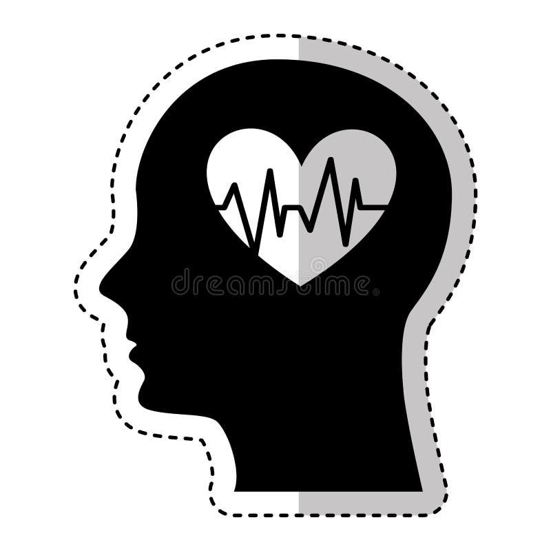 Menselijk profiel met hart cardio stock illustratie