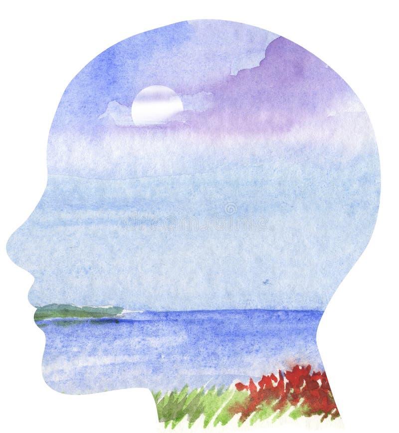 Menselijk profiel met overzees landschap stock illustratie