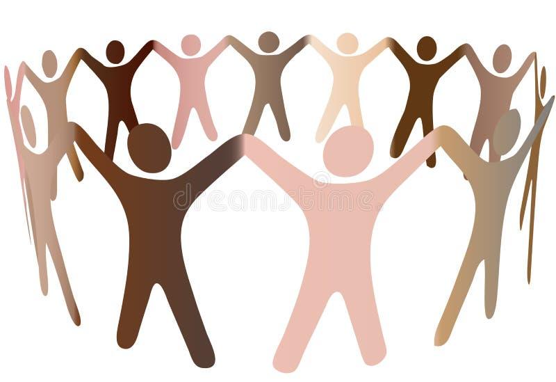 Menselijk skintonesmengsel in ring van diverse mensen vector illustratie
