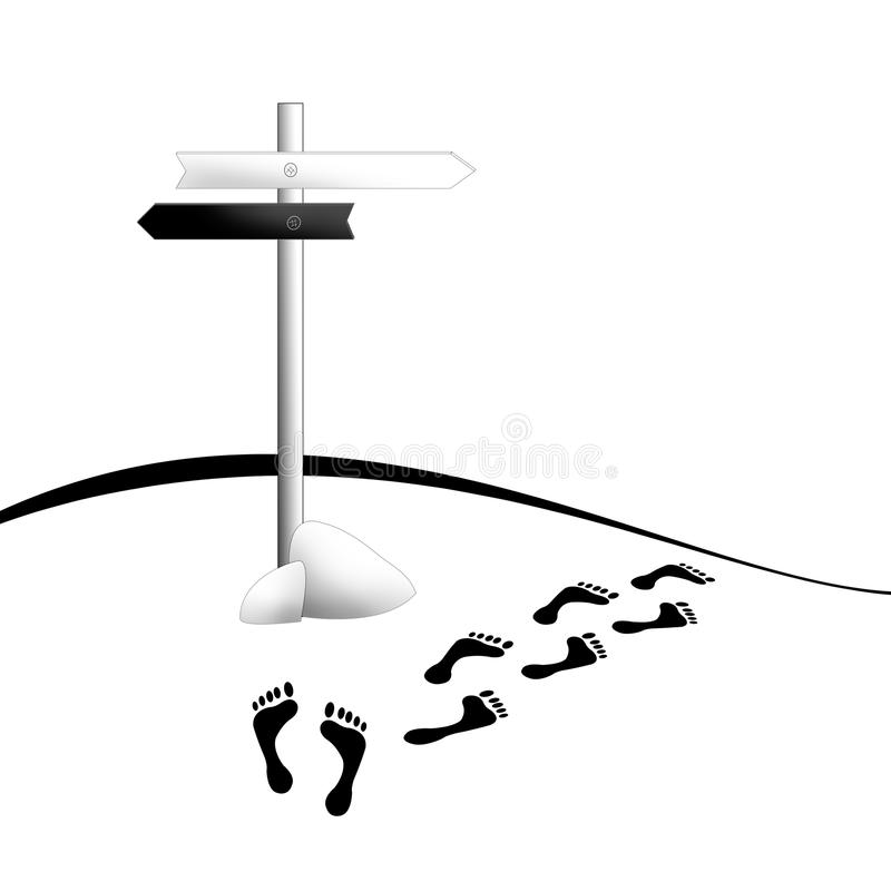 Menselijk sporen en kruispunt. stock illustratie