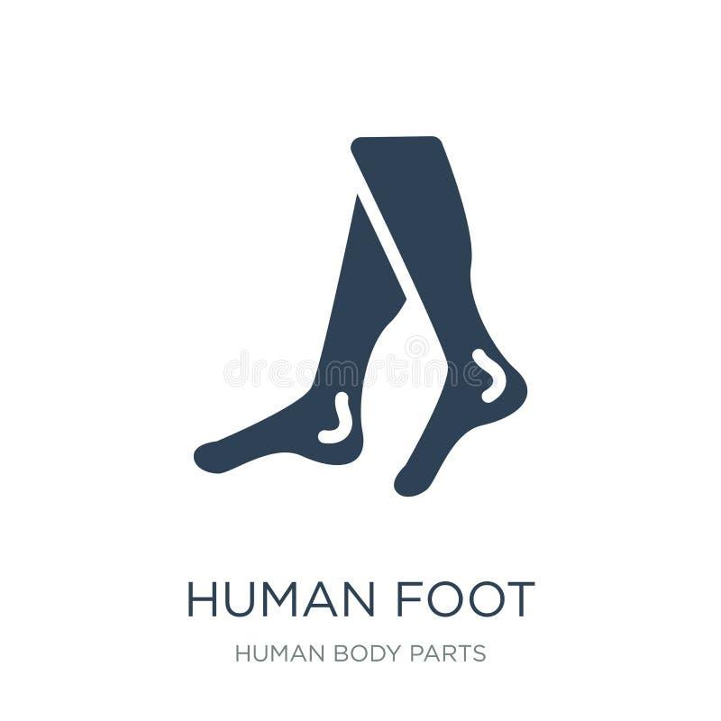 menselijk voetpictogram in in ontwerpstijl Menselijk die Voetpictogram op witte achtergrond wordt geïsoleerd menselijk eenvoudig  stock illustratie