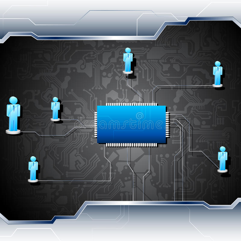 Menselijk Voorzien van een netwerk op Motherboard stock illustratie