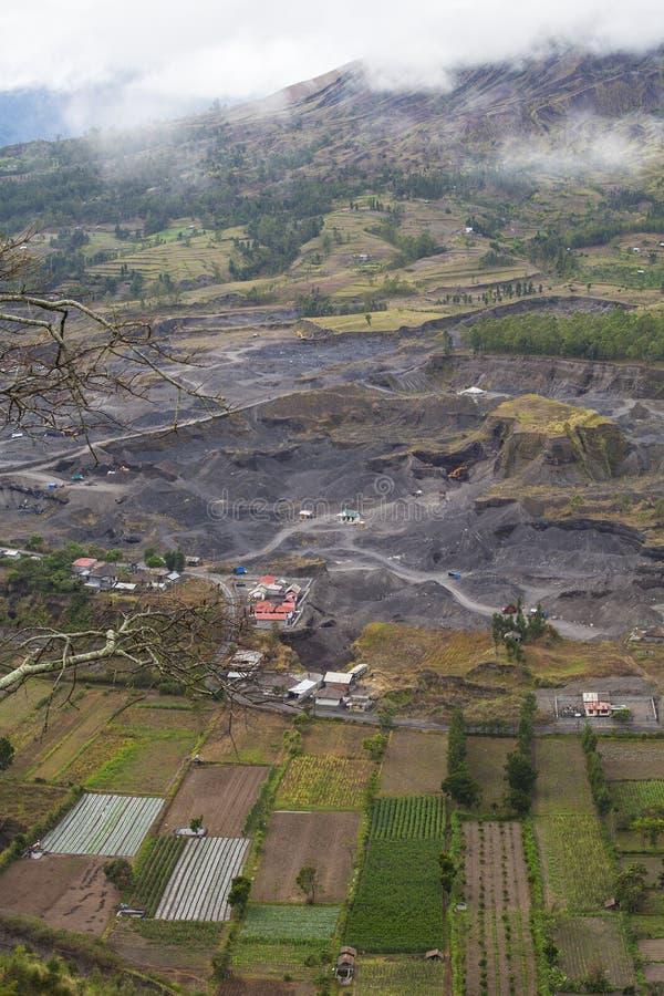 Menselijke Activiteiten bij de Vulkaankelderverdieping stock foto's