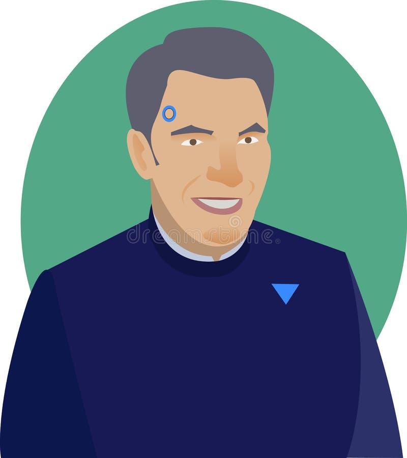 Menselijke androïde in eenvormig op groene achtergrond stock illustratie