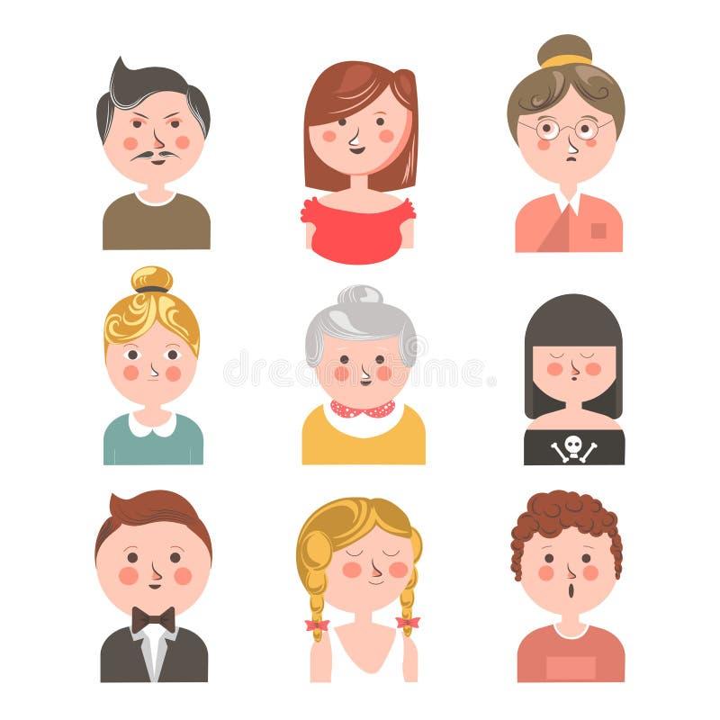 Menselijke avatar kleurrijke die reeks op witte grafische affiche wordt geïsoleerd vector illustratie
