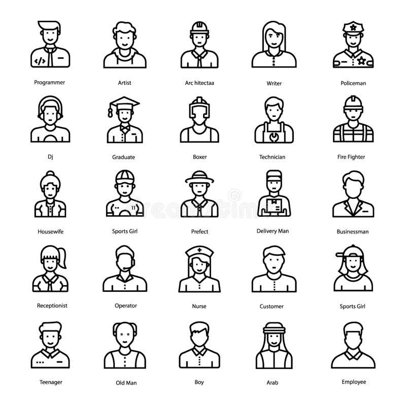 Menselijke Avatars Lijnvectoren royalty-vrije illustratie