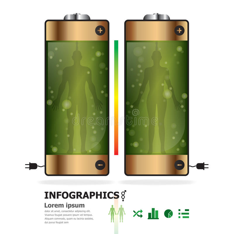 Menselijke Batterij Infographics vector illustratie