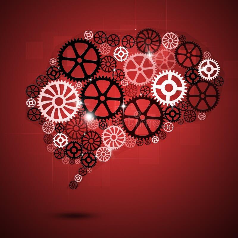 Menselijke Brain Shape Gears Red Business-Achtergrond stock illustratie