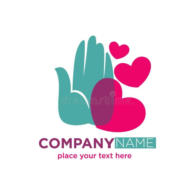 Menselijke die hand met het ontwerp van het hartenbedrijf logotype op wit wordt geïsoleerd vector illustratie