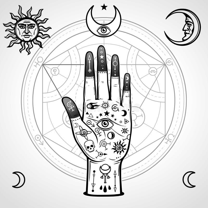 Menselijke die hand met magische symbolen wordt geschilderd Alchemistische cirkel van transformaties stock illustratie