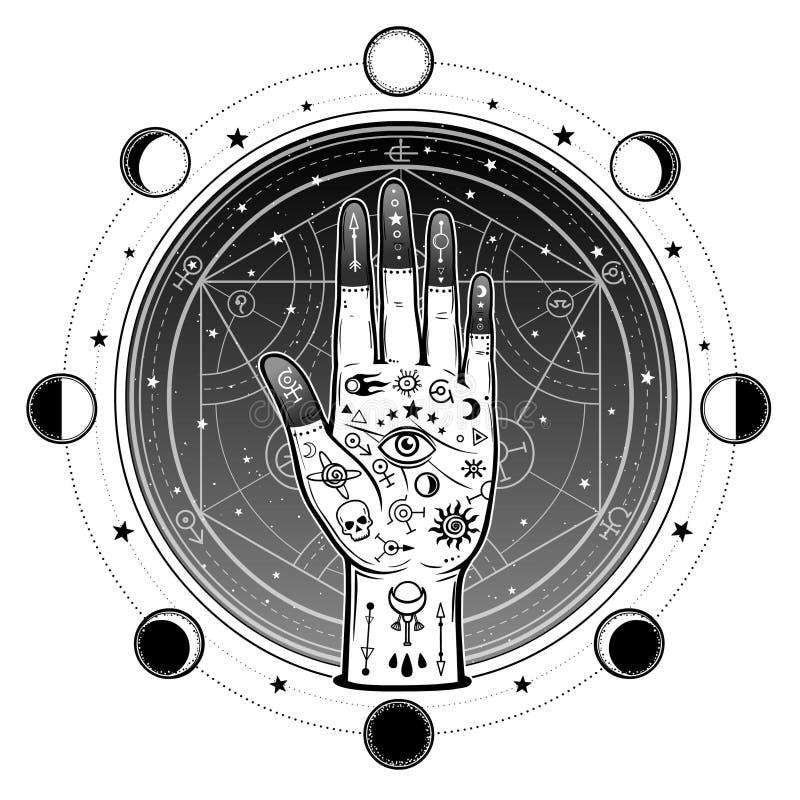 Menselijke die hand met magische symbolen wordt geschilderd Alchemistische cirkel van transformaties vector illustratie