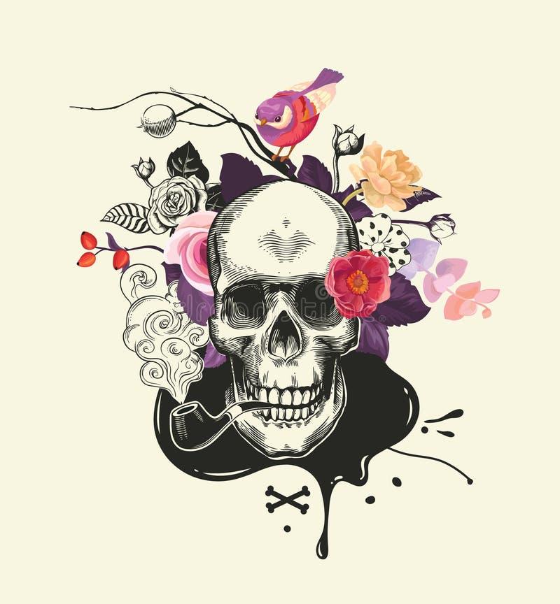 Menselijke die schedel in etsstijl met rokende pijp in mond tegen boeket van helft-gekleurde rozen, gekruiste beenderen wordt get royalty-vrije illustratie