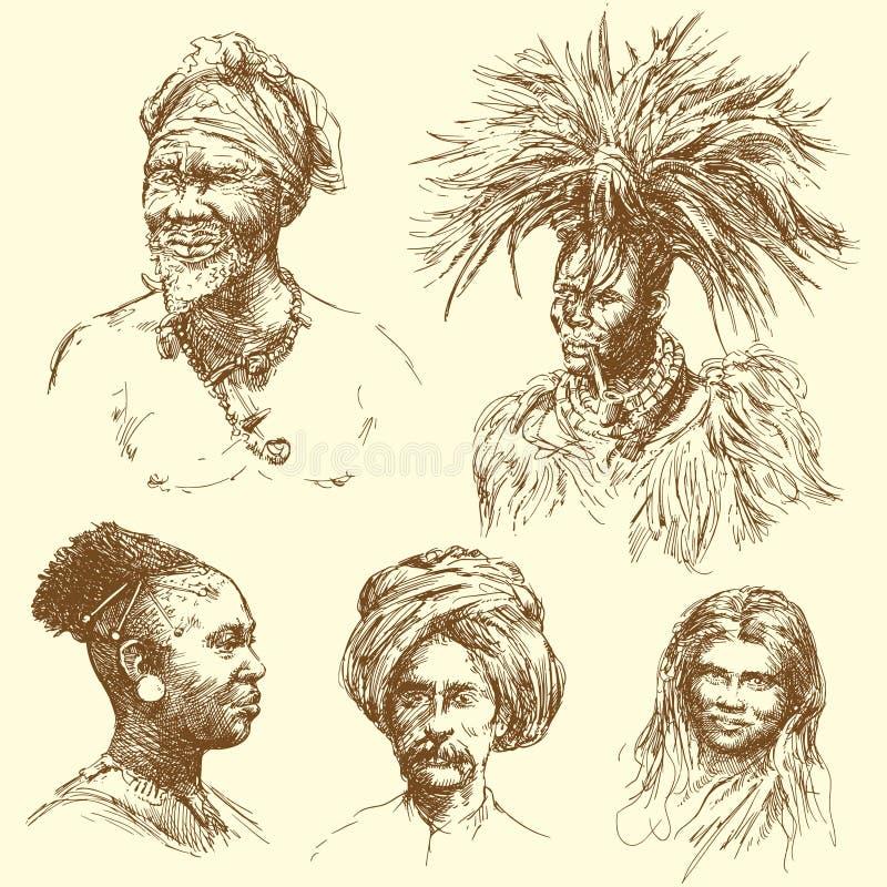 Menselijke diversiteit - portretten royalty-vrije illustratie