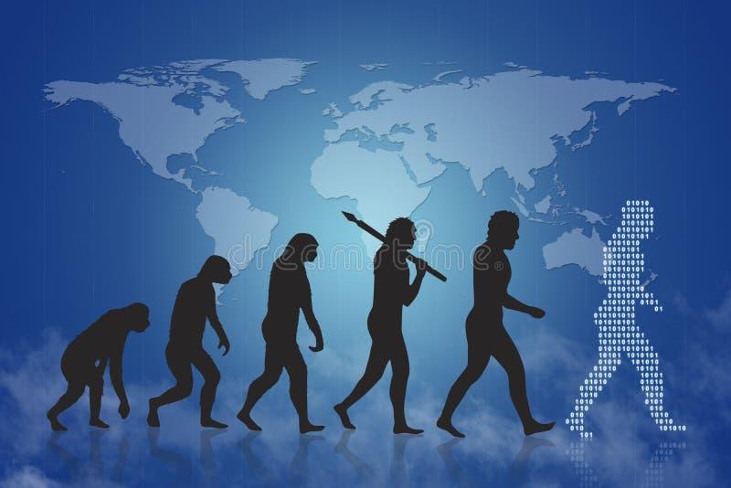 Menselijke evolutie/de groei & vooruitgang stock illustratie