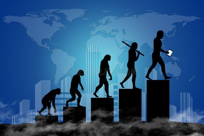 Menselijke evolutie in moderne wereld stock illustratie