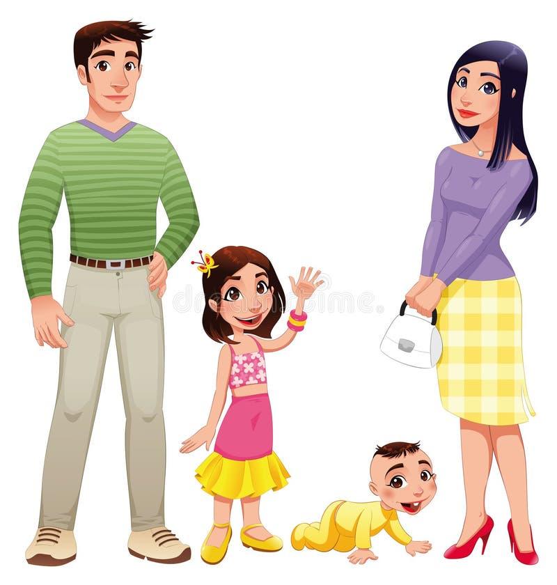 Menselijke familie met moeder, vader en kinderen. stock illustratie