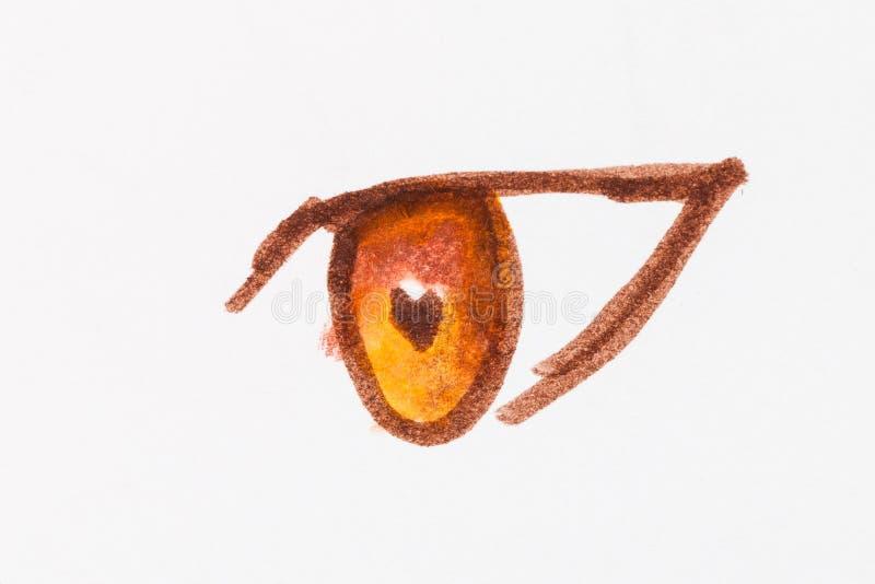 Menselijke gele oog dichte omhooggaande die hand door gevoelde pennen wordt getrokken vector illustratie