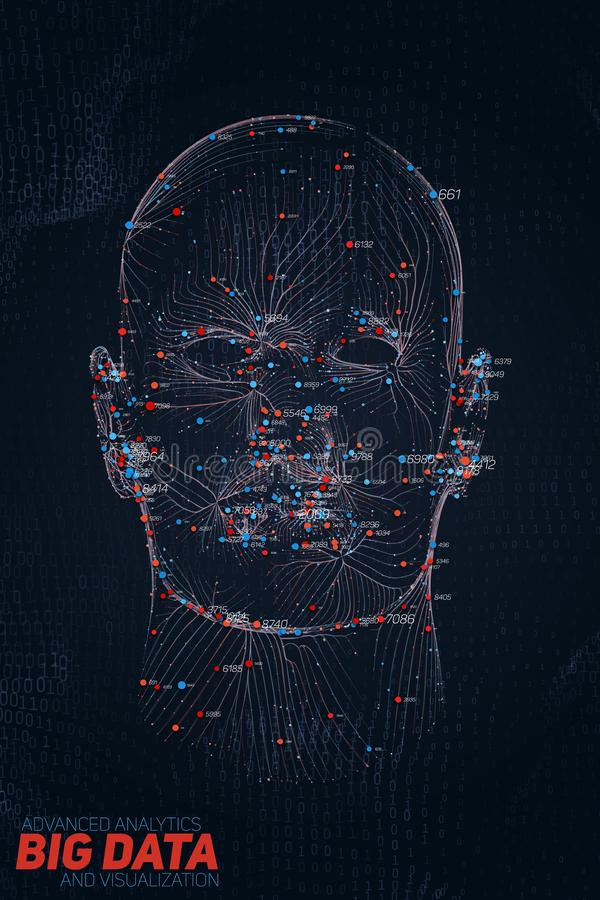 Menselijke Grote gegevensvisualisatie Futuristische infographic AI Informatie esthetisch ontwerp Visuele gegevensingewikkeldheid  vector illustratie