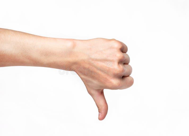 Menselijke hand die duim neer tonen stock foto's