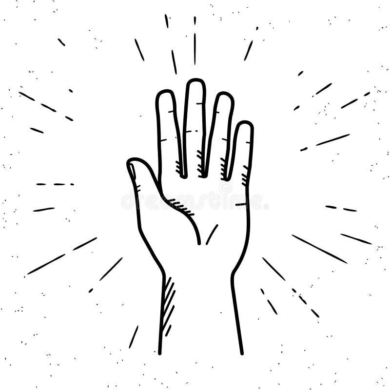 Menselijke hand die een hoogte vijf geven royalty-vrije illustratie