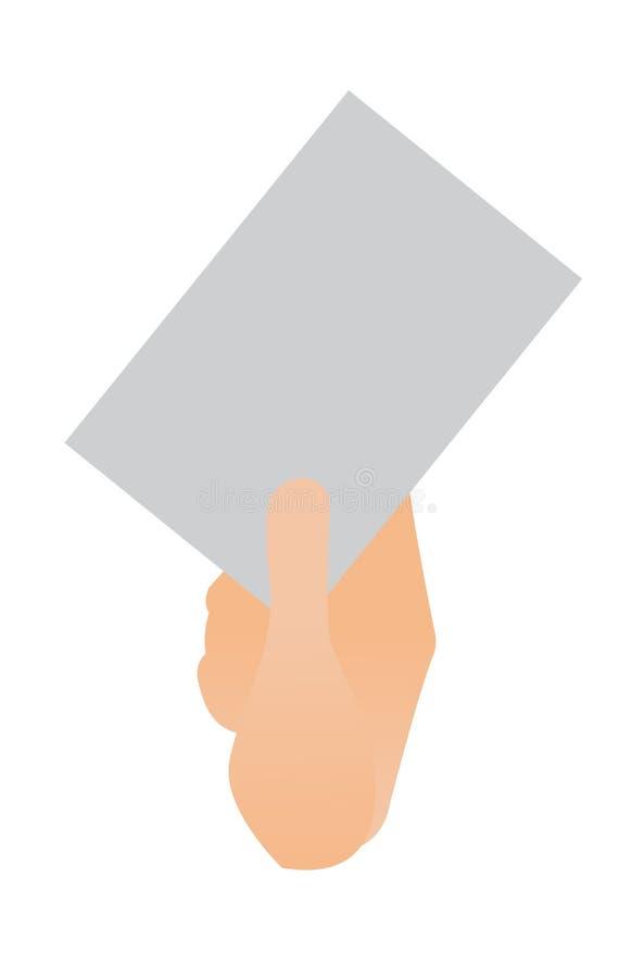 Menselijke hand die een leeg document blad houden royalty-vrije illustratie