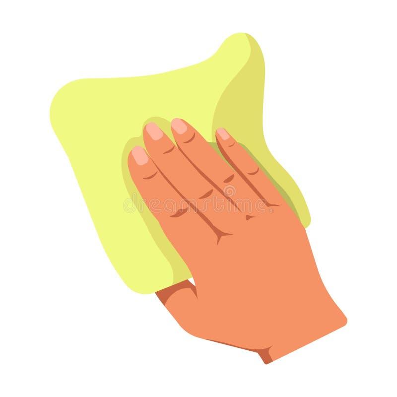 Menselijke hand die geel die stofdoek houden op witte achtergrond wordt geïsoleerd royalty-vrije illustratie