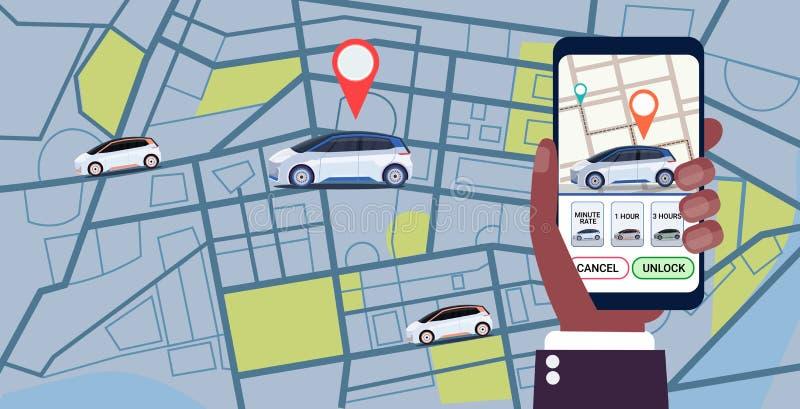 Menselijke hand die mobiele toepassing het online bestel- taxiauto met behulp van die het scherm van conceptensmartphone met gps  royalty-vrije illustratie