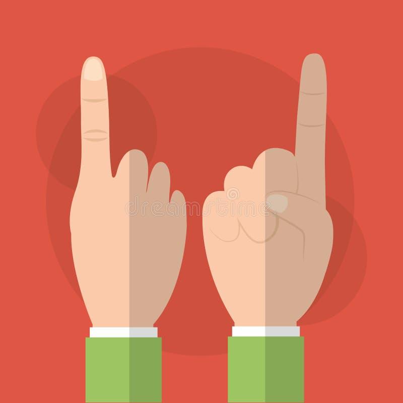 Menselijke hand die voorzijde en rug van het vinger de de eerste gebaar tonen royalty-vrije illustratie