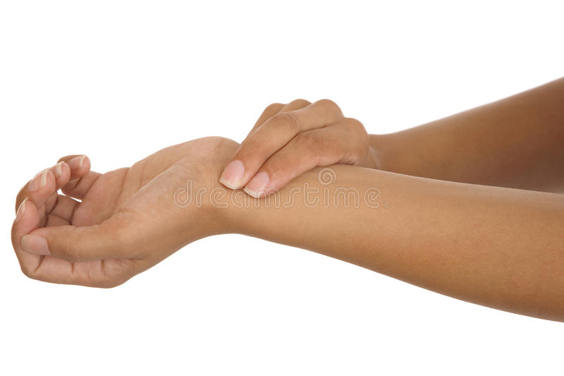 Menselijke hand die wapenimpuls meet stock afbeeldingen