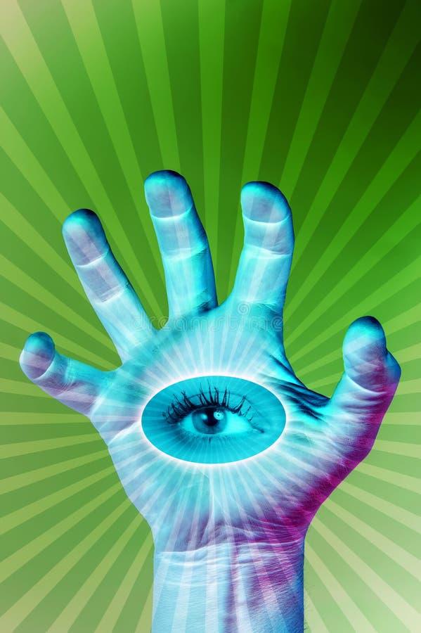 Menselijke hand en alle-ziet oog Surreal illustratie voor uw magisch ontwerp Collage van eigentijds art. stock foto
