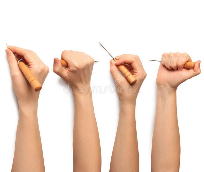 Menselijke hand met genaaid royalty-vrije stock afbeelding