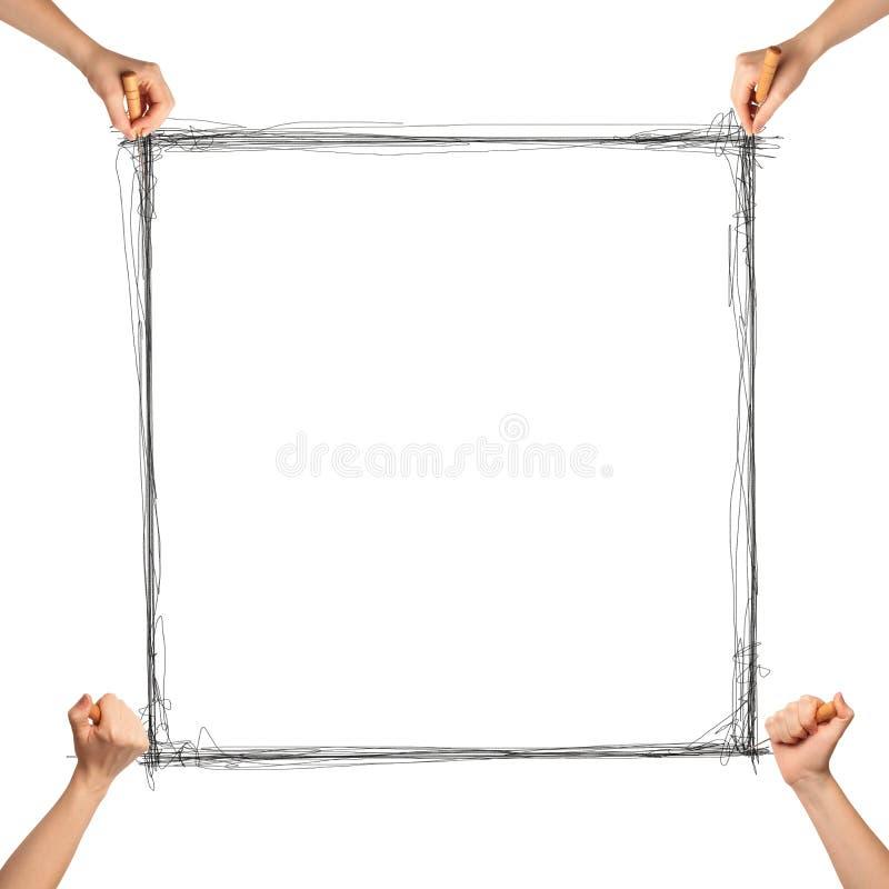 Menselijke hand met genaaid en frame stock foto's
