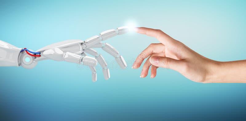 Menselijke hand wat betreft een androïde hand royalty-vrije stock afbeelding