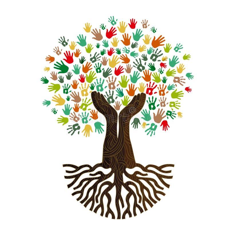 Menselijke handboom voor het concept van de cultuurdiversiteit stock illustratie