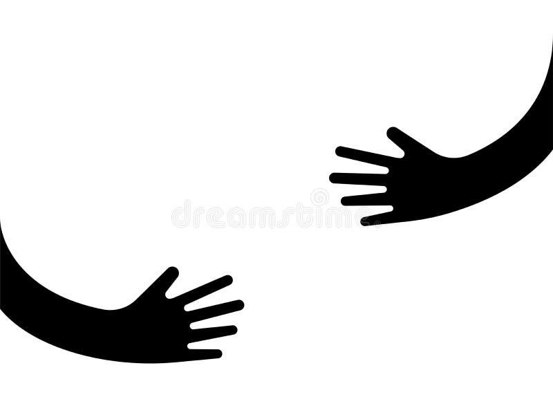 Menselijke handen die of iets houden omhelzen embleemteken vector illustratie