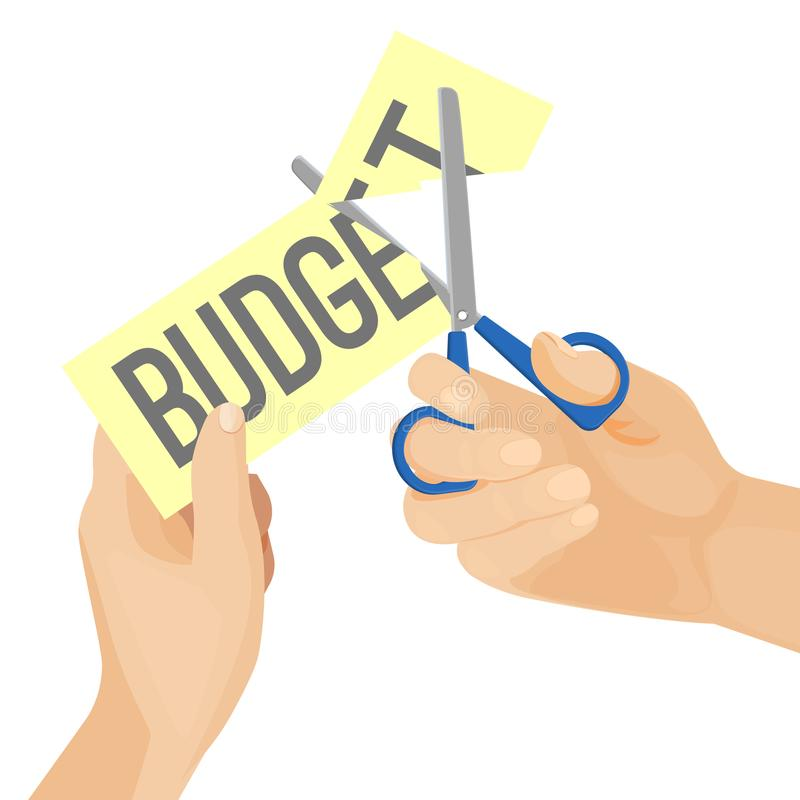 Menselijke handen en besnoeiing op de begroting op vectorillustratie vector illustratie