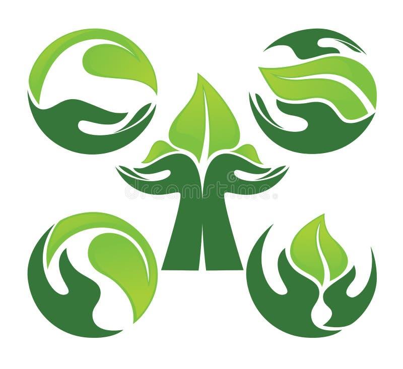 Menselijke handen en groene het groeien installaties stock illustratie