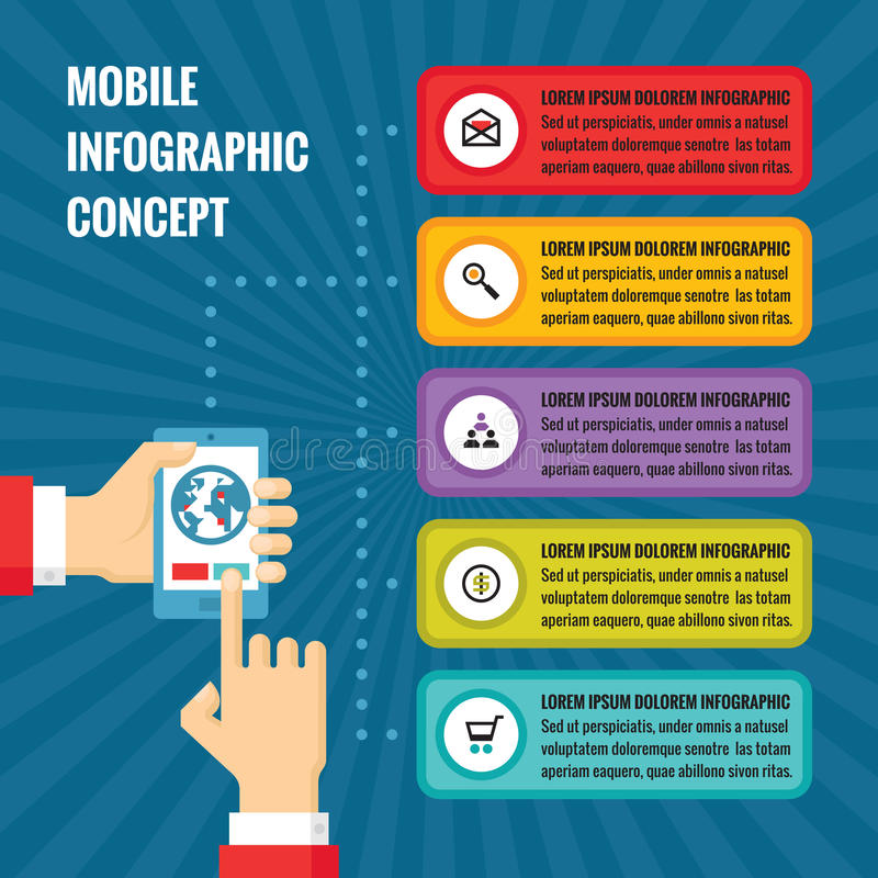 Menselijke handen met mobiele telefoon met van de het aanrakingsscherm en toepassing blokken - conceptenillustratie in vlakke ont vector illustratie