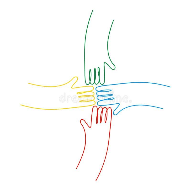 Menselijke handen samen voor communautaire geïsoleerde hulp royalty-vrije illustratie